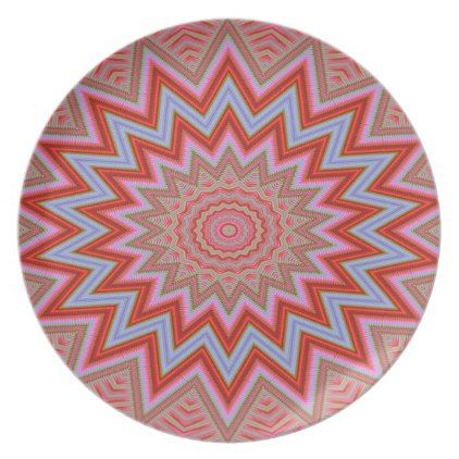 #beauty - #Abstract Background Red And Pink Concentric Stars Dinner Plate