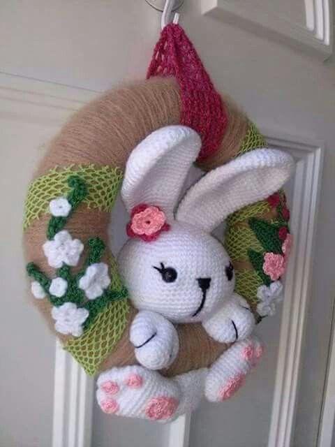 Kapı süsü | Modellerim | Easter crochet, Crochet bunny ...