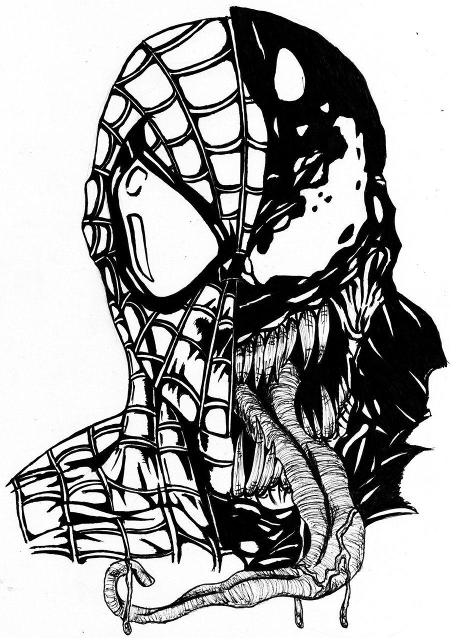 Venom And Spiderman By Darkartistdomain Spiderman Drawing Spiderman Coloring Venom Spiderman