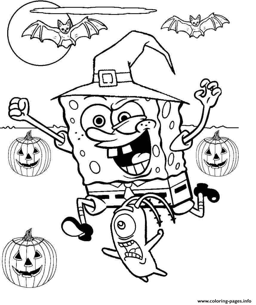 Spongebob Squarepants Halloween Coloring Pages Through The