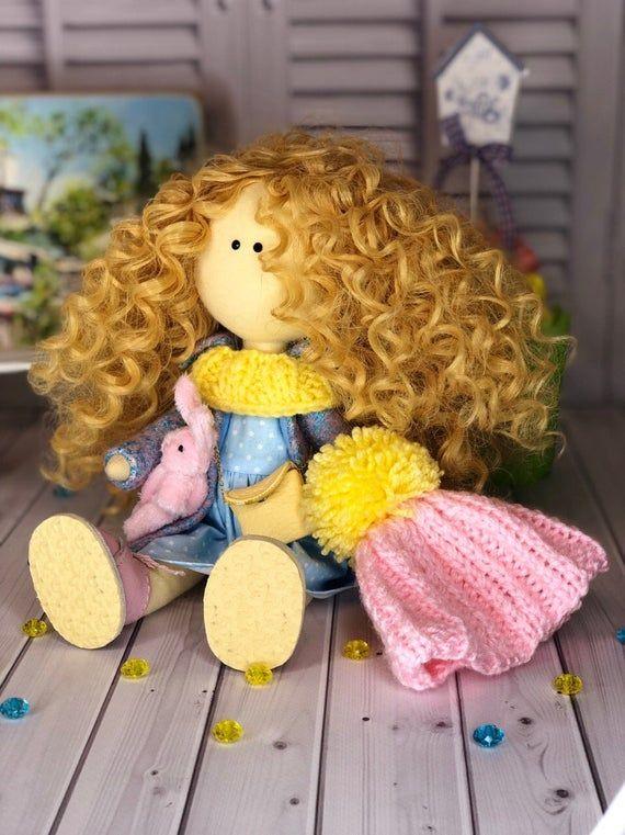 Tilda Cloth Doll, Handmade Soft Doll, Interior Decor Doll, Nursery Art Doll, Fabric Rag Doll, Portrait Individual Doll for Girl by Evgenia #dollcare