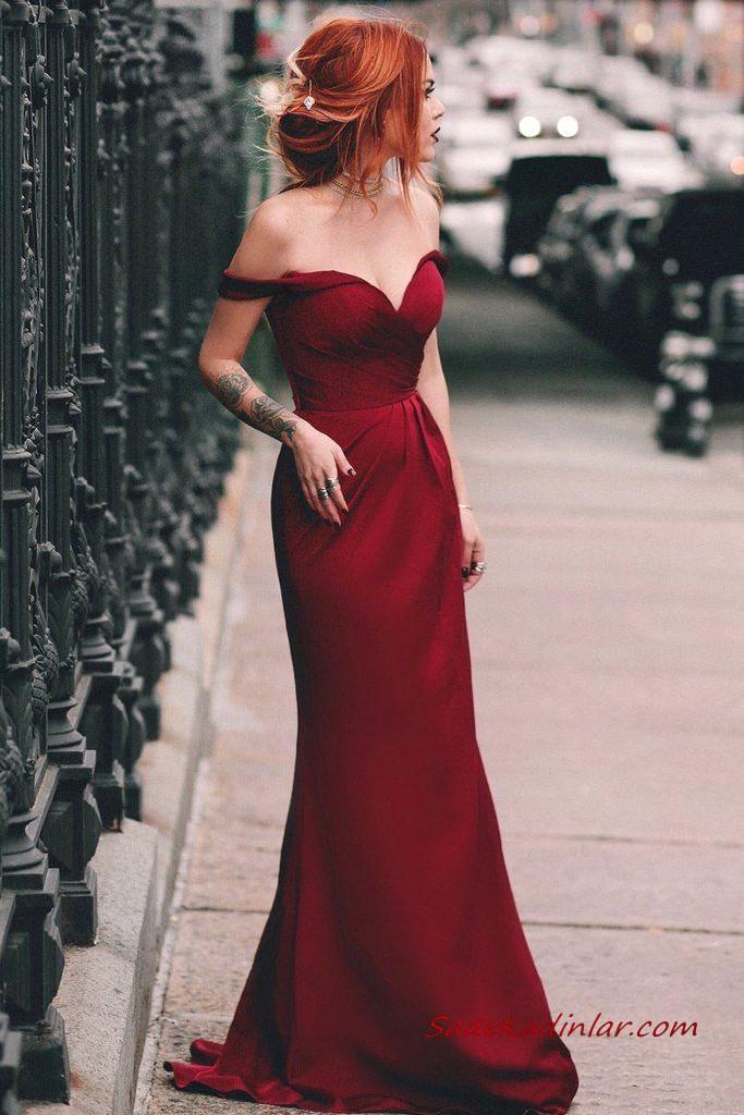 2020 Sevgililer Gunu Icin Abiye Elbise Modelleri Kirmizi Mini Omzu Acik Dusuk Kollu Klos Etekli 2020 Uzun Mezuniyet Balosu Elbiseleri Aksam Elbiseleri The Dress