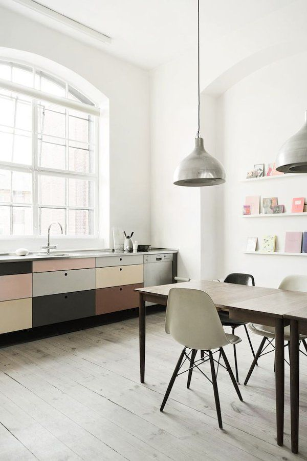 Scandinavian Style Kitchen-Eames Chairs & Soft Colours. #interior
