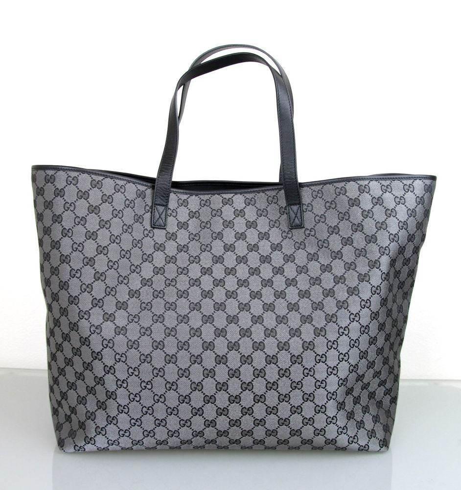 843961ddf4d52b New Authentic GUCCI XL GG Canvas Tote Bag Handbag, Black/Silver, 257244  8163 #Gucci #ShoulderBag