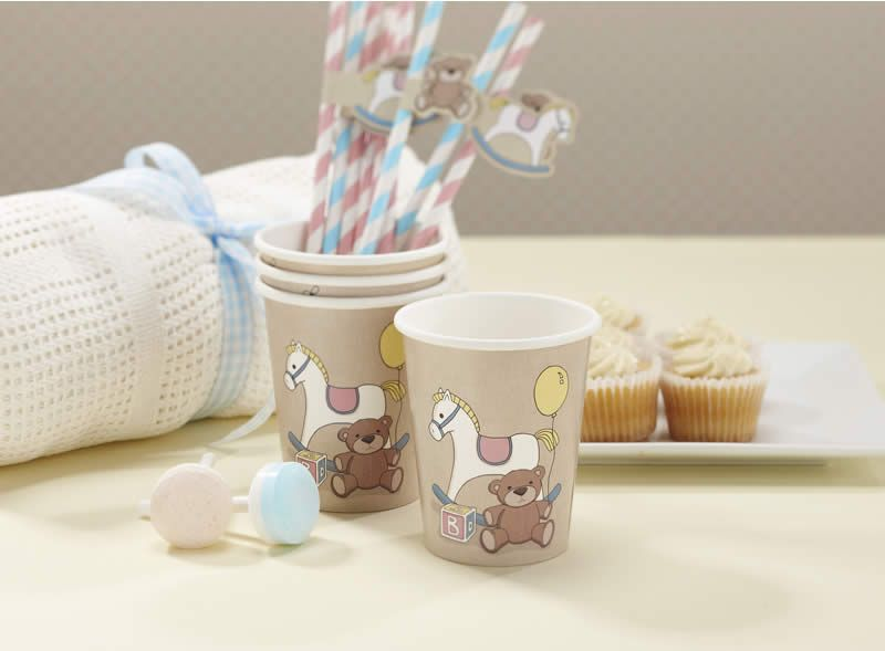 Pretty little paper cups with our signature Rock-a-bye Baby design featuring a rocking horse, teddy, building brick and bunting. Add to the Rock-a-by Baby plates and napkins for the perfect baby shower, 1st birthday or christening table setting. Pack of 8.
