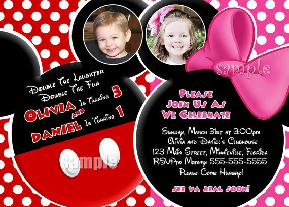 HUGE SELECTION Mickey Mouse Invitation For Boy Twins Minnie Mouse