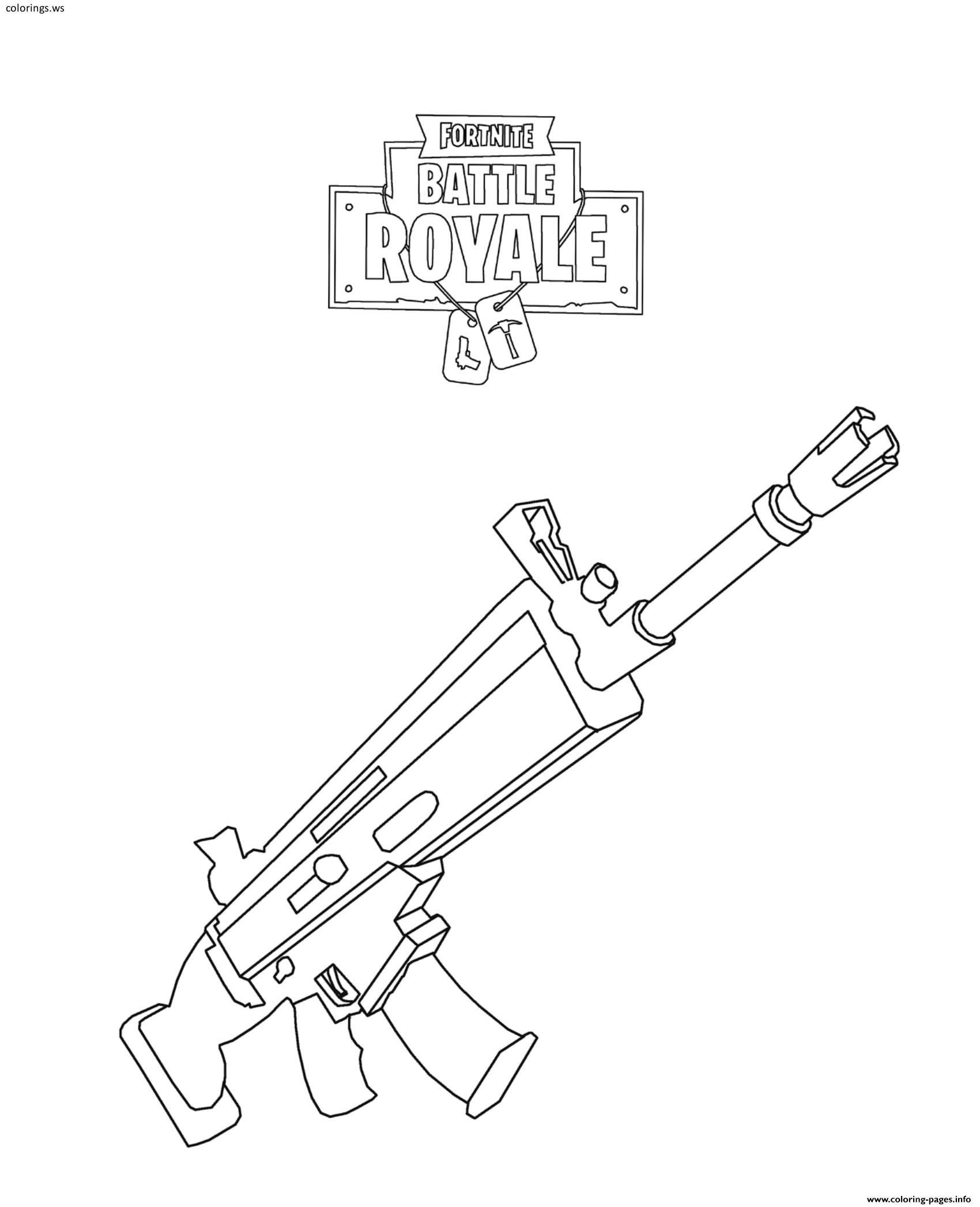 Fortnite Scar Coloring Pages kids in 2019 Coloring