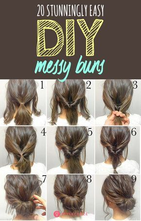 20 Stunningly Easy DIY Messy Buns | Long hair styles, Hair styles, Thick hair styles