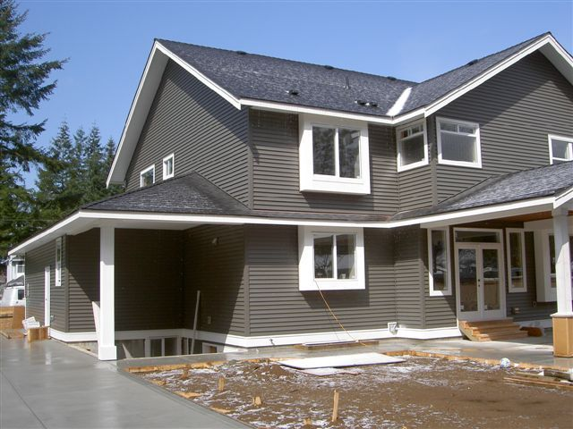 Windswept smoke with white trim siding paint colors for Cottage siding