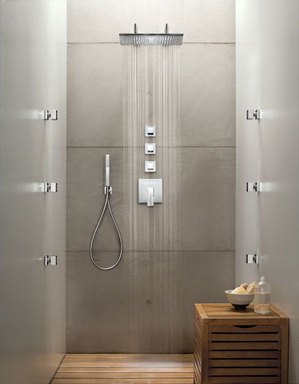 Built In Shower Plano Thermostatic Built In Shower Mixer 3 4 3 Outlet From Fantini With Images Shower Taps Shower Room Shower