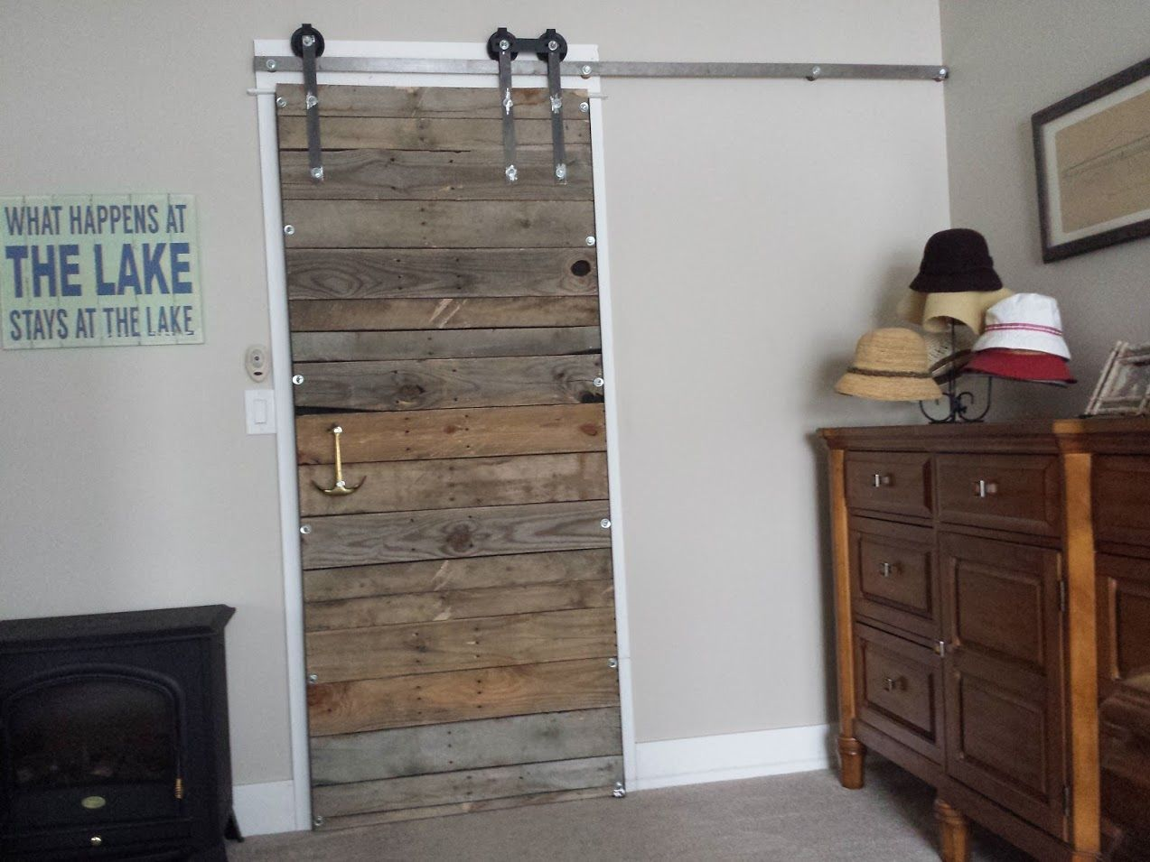 Sliding Bar Door Project. I Built This For Our Bedroom Using Pallets, Steel  And Pulleys From An Old Total Gym Machine. This Is The Inside Of The  Bedroom.