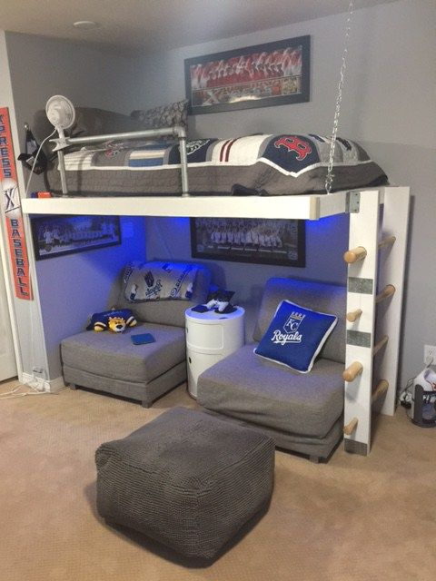 Ikea rug hack pouf kc royals boys teen bedroom mlb pottery Bunk bed boys room