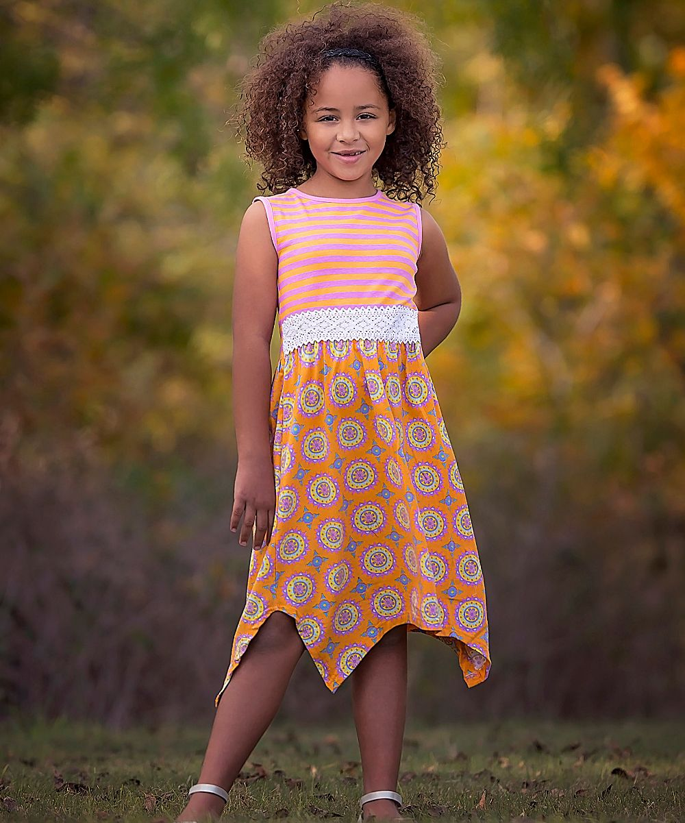 Pink u orange medallion u stripe maxi dress toddler u girls
