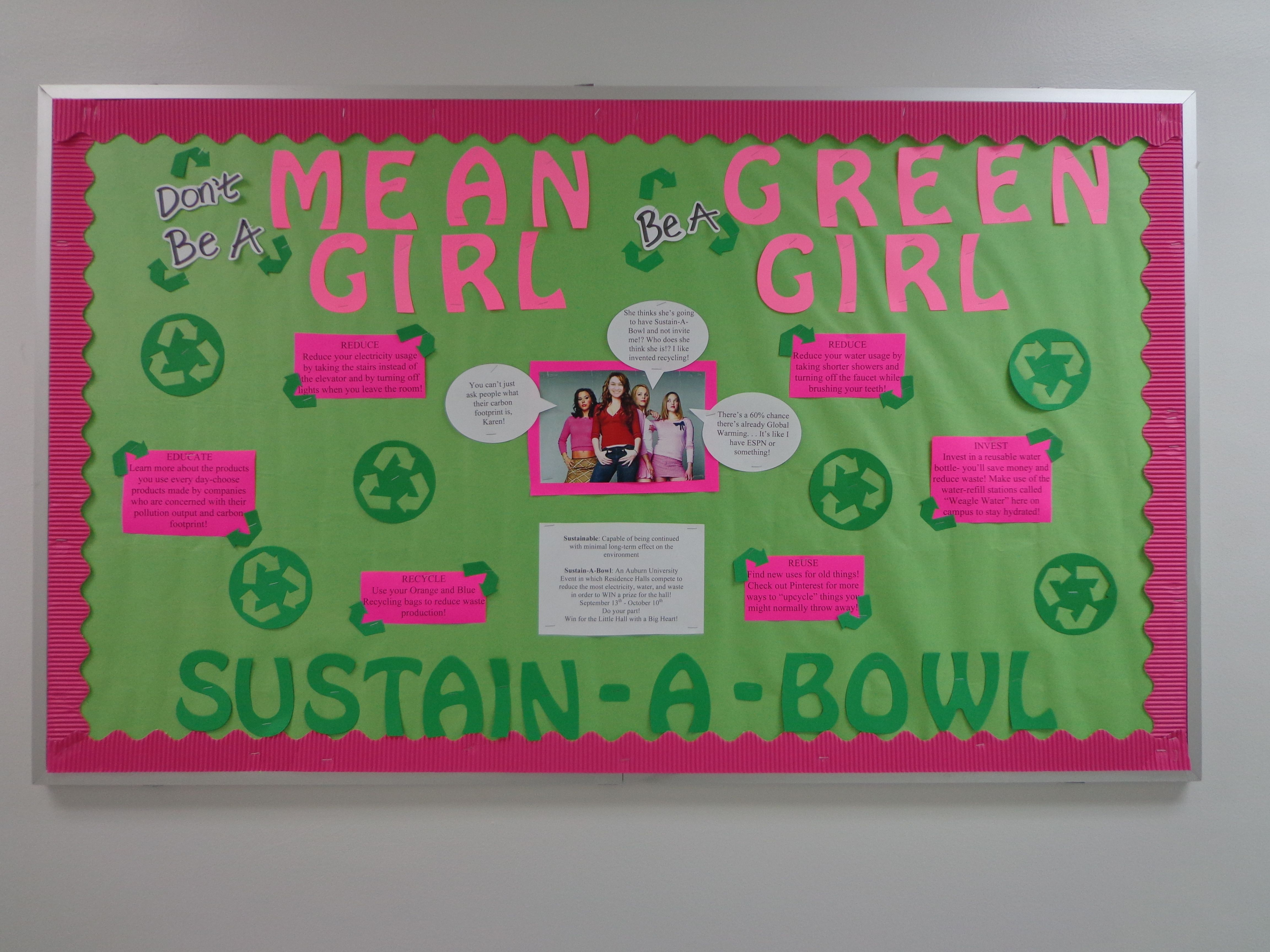 Resident Assistant Bulletin Board To Promote Sustainability Mean