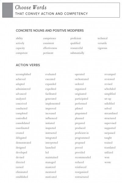 Resume Guide High Impact Words  Resume Guide