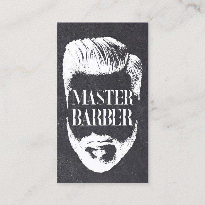 Barbershop Master Barber Vintage Chalkboard Hair Business Cards.