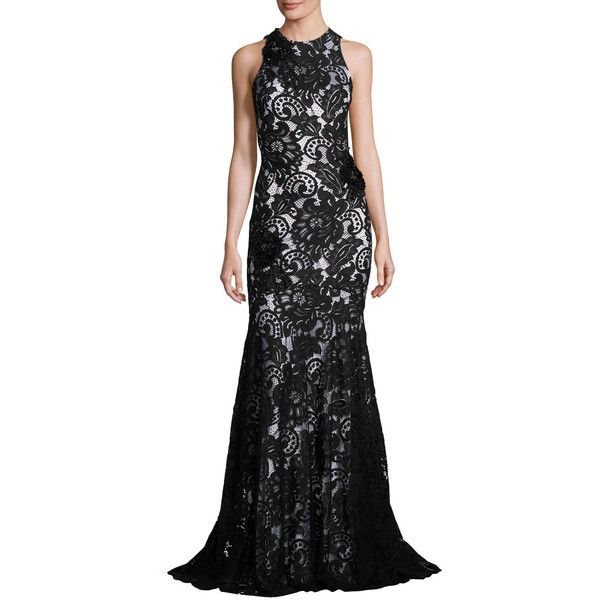 Theia Beaded Sleeveless Lace Mermaid Gown ($1,295) ❤ liked on ...