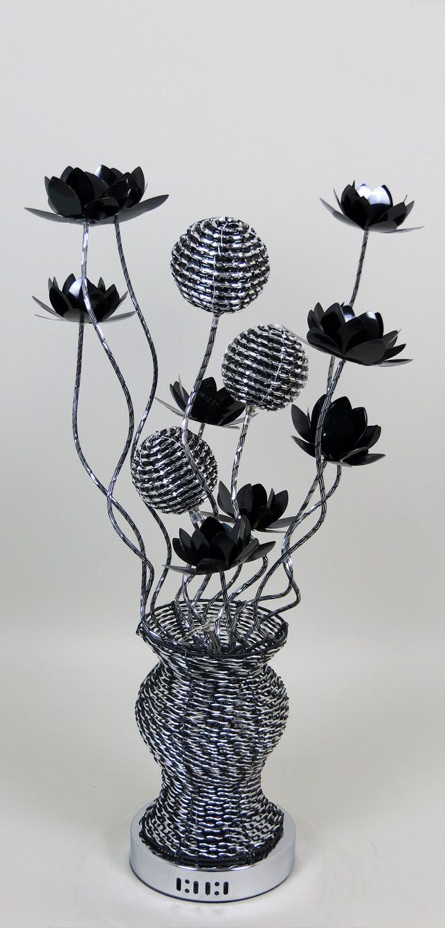 80cm tall Woven Wire Table Lamp, in Silver with Black intricacies ...