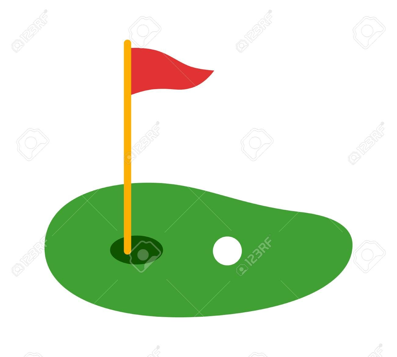 Golf Course Green With Flag Or Flagstick And Golf Ball Flat Vector Color Icon For Sports Apps And Websites Sponsored Flagstick Golf Ball Golf Courses Flag