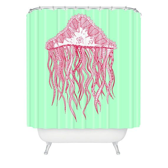 Jellyfish Shower Curtain, Mint Green Shower Curtain, Modern Shower Curtain, Hipster  Shower Curtain