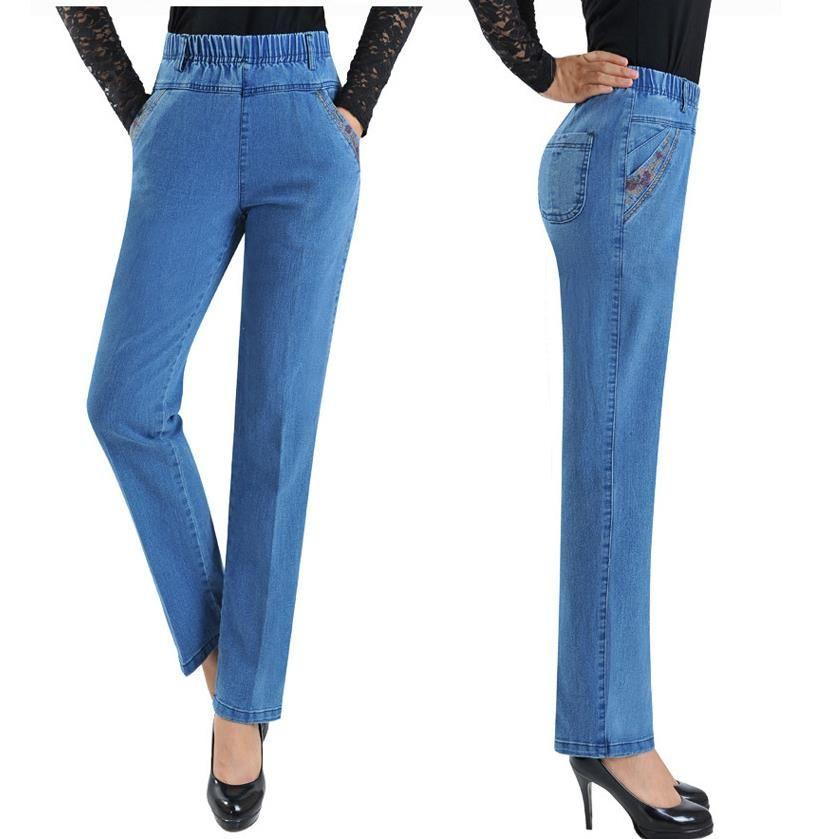 97b30ec54 Barato 2017 Primavera e No outono bordado calça jeans femininos harem pants  de cintura alta elástico plus size 7xl mulheres longo pant, Compro  Qualidade ...