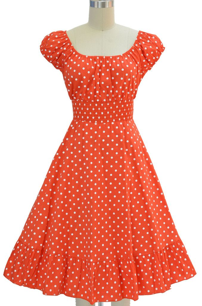 9ee9c0e6bbd peasant top polka dot sun dress - orange   white