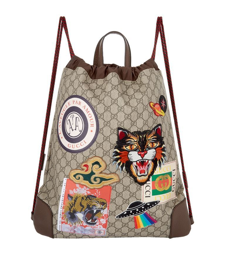 bcdc4db6cc0c78 GUCCI Courrier Gg Supreme Drawstring Backpack. #gucci #bags #leather # backpacks #