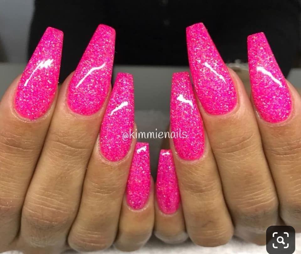 Pin By Planswithchan On Nails Pink Glitter Nails Pink Acrylic Nails Hot Pink Nails