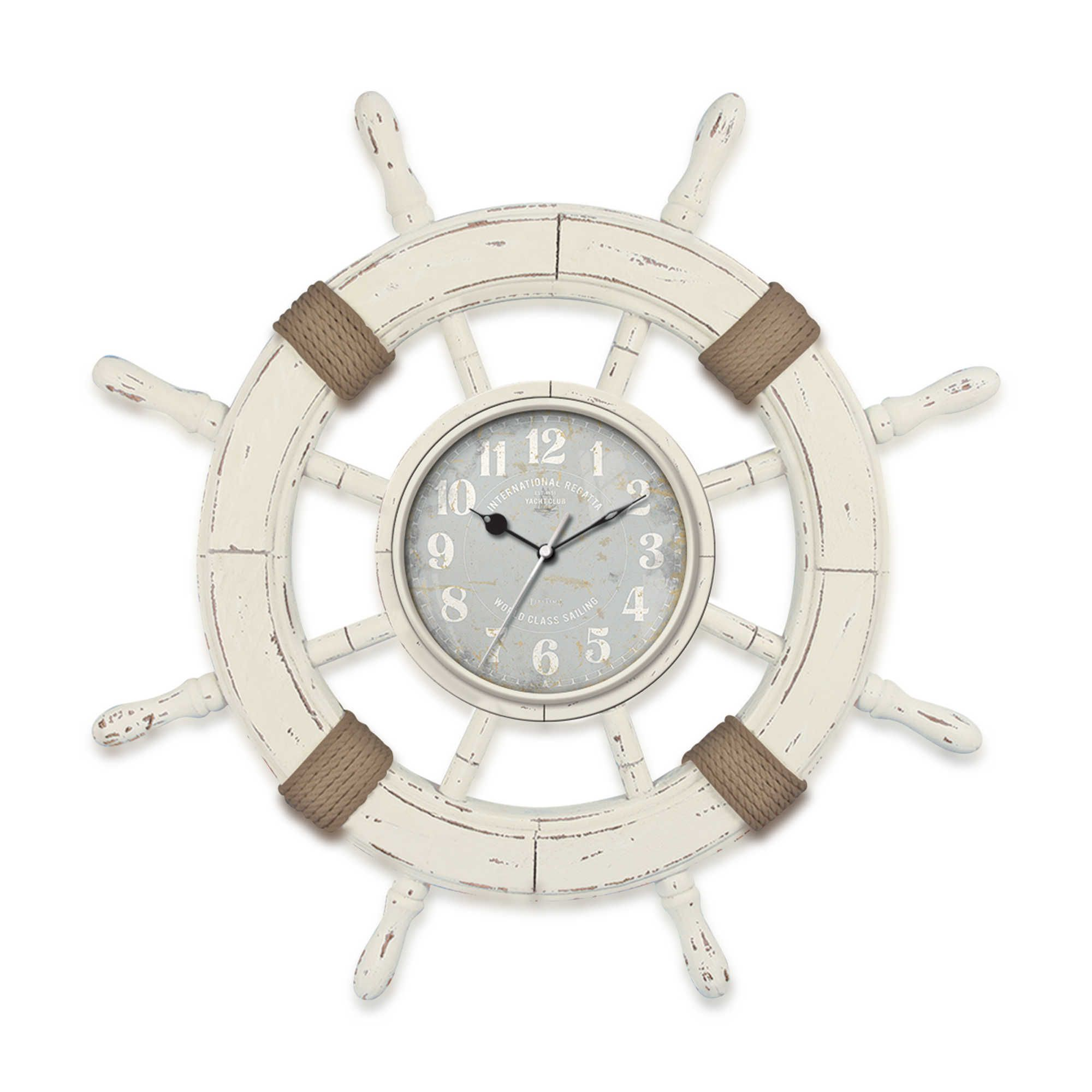 The Ultimate In Nautical Style, The FirsTime Ship Wheel Wall Clock Boasts  An Aged Ivory Finish, Wrapped Rope Accents And A Chic, Sky Blue Dial With  White ... Pictures Gallery