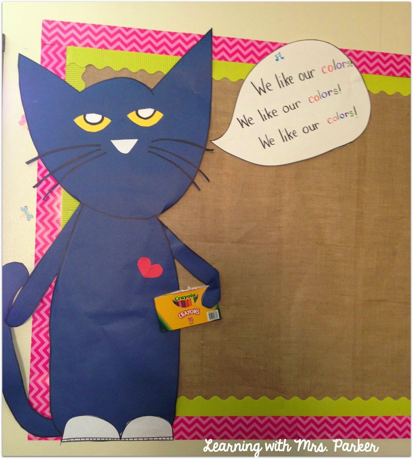 Color cats like - Learning With Mrs Parker Pete The Cat We Like Our Colors Bulletin Board
