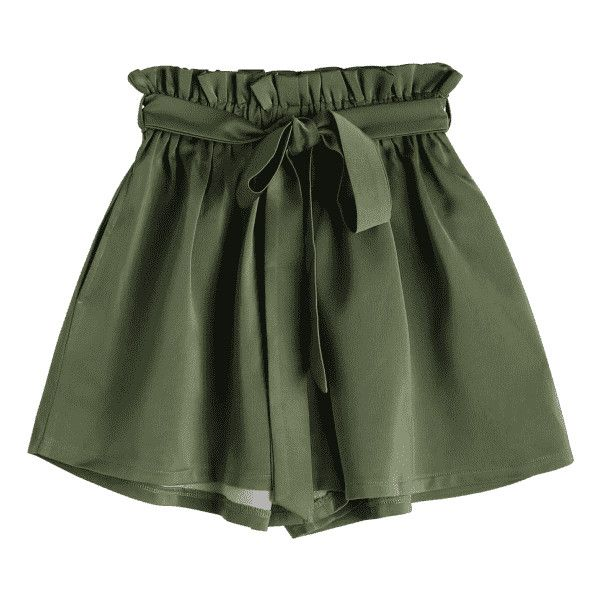 Smocked Belted High Waisted Shorts Army Green ($9.99) ❤ liked on Polyvore  featuring shorts, bottoms, belted shorts, high-waisted shorts, highwaist …