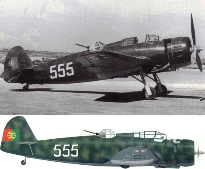 One of the 10 Breda Ba.65bis of the Grupo de Bombardeo de Dia at Sintra, Força Aérea Portuguesa (Portuguese Air Force). Those aircrafts were delivered on 25 November 1938 and fitted with a Breda turret in November 1939. On 15 February 1941, an enormous storm struck Sintra and made the hangars collapse upon the Ba.65s. Despite all attempts to save at least a couple of the Bredas it turned out that all aircraft were beyond repair. Shortly afterwards all aircraft were ordered to be scrapped