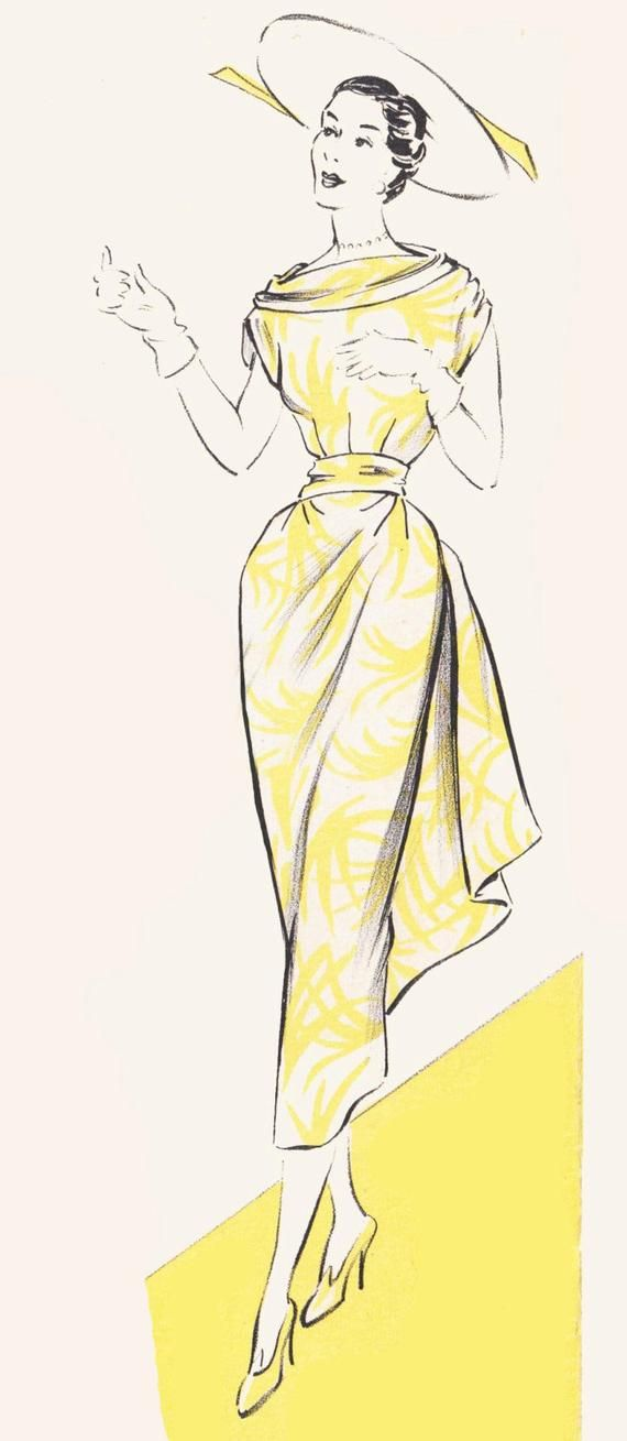 Vintage Sewing Pattern 1950\'s Dress in Any Size - PLUS Size Included ...