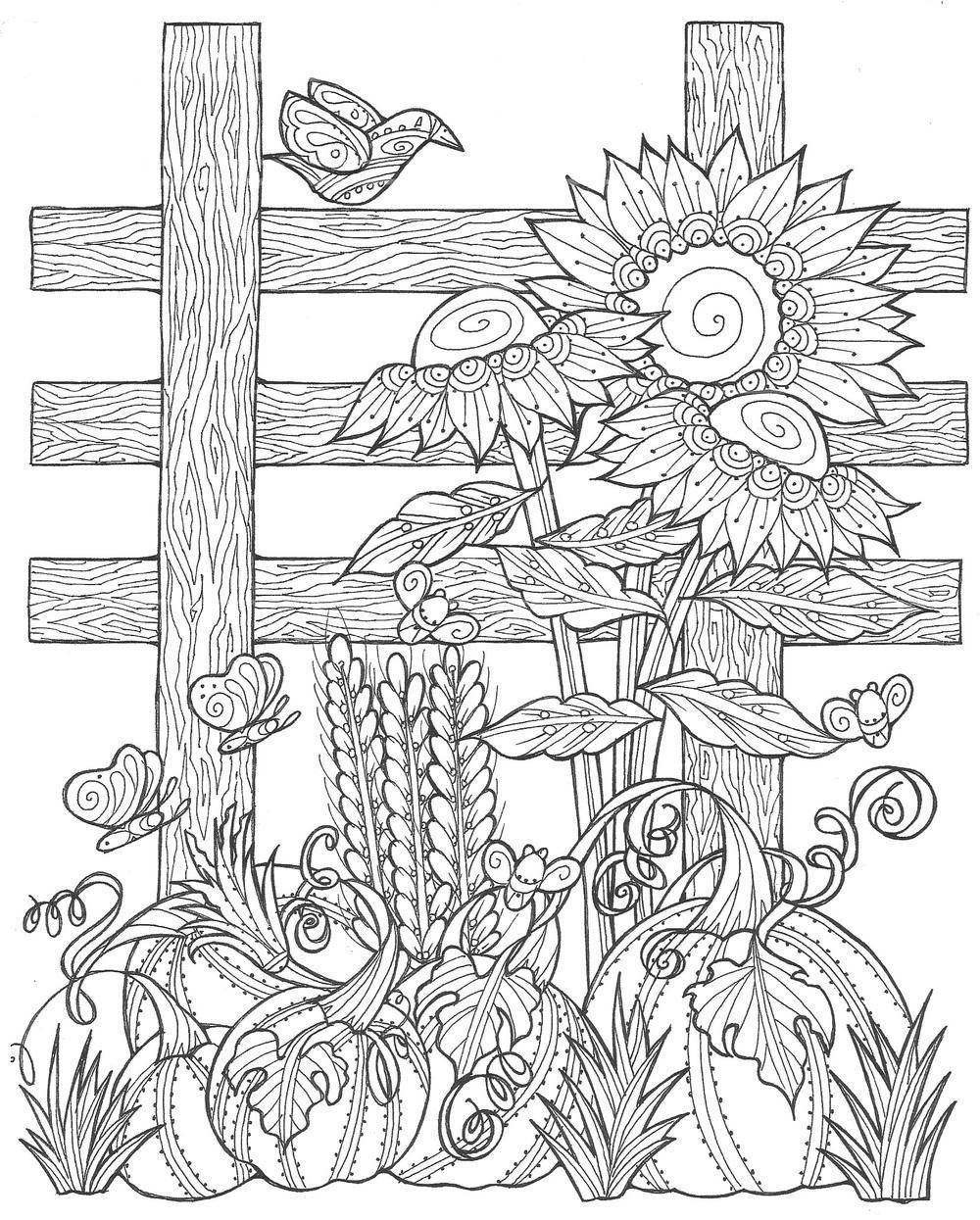 Sunflower Pumpkin Patch Coloring Page in 8  Herbst