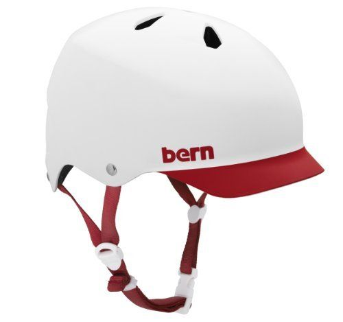 Bern Watts Eps Summer Matte Helmet With Red Brim White Large By