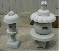 DIY Japanese Syle Lanterns using concrete and random plastic pieces like tupperware and plate, etc
