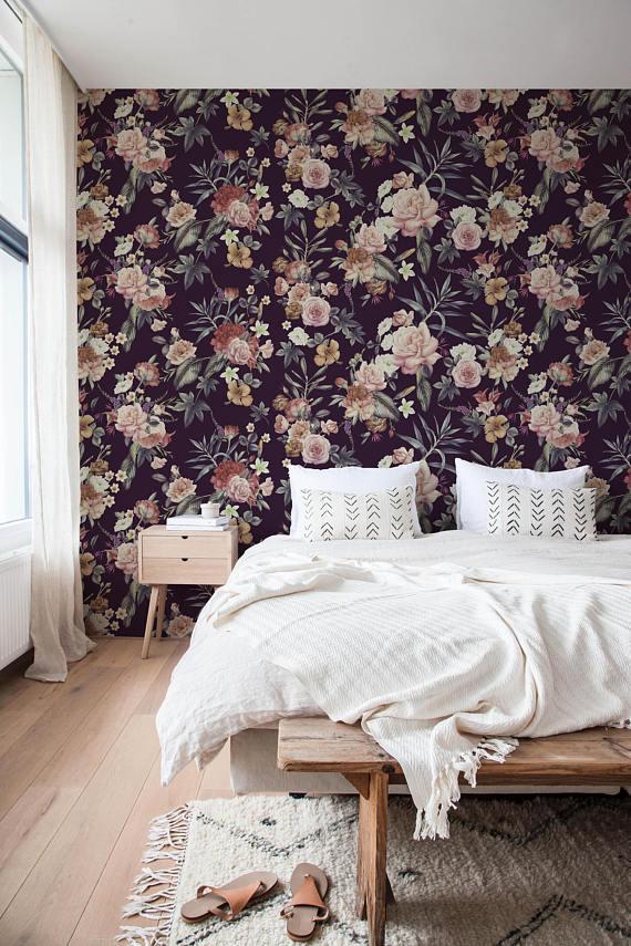 Spring Floral Wallpaper Flower Wallpaper Peel And Stick Wallpaper Floral Wallpaper Removable Wall Paper Removable Wallpaper A037 In 2021 Removable Wallpaper Vintage Floral Wallpapers Wall Wallpaper