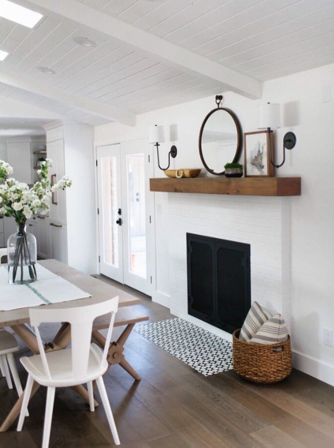 Cement Tile In Front Of Fireplace Dining Living Room Pinte