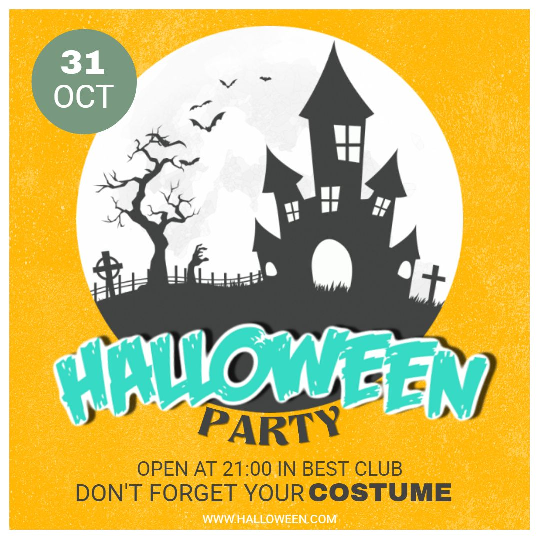 yellow halloween costume party social media ad template halloween