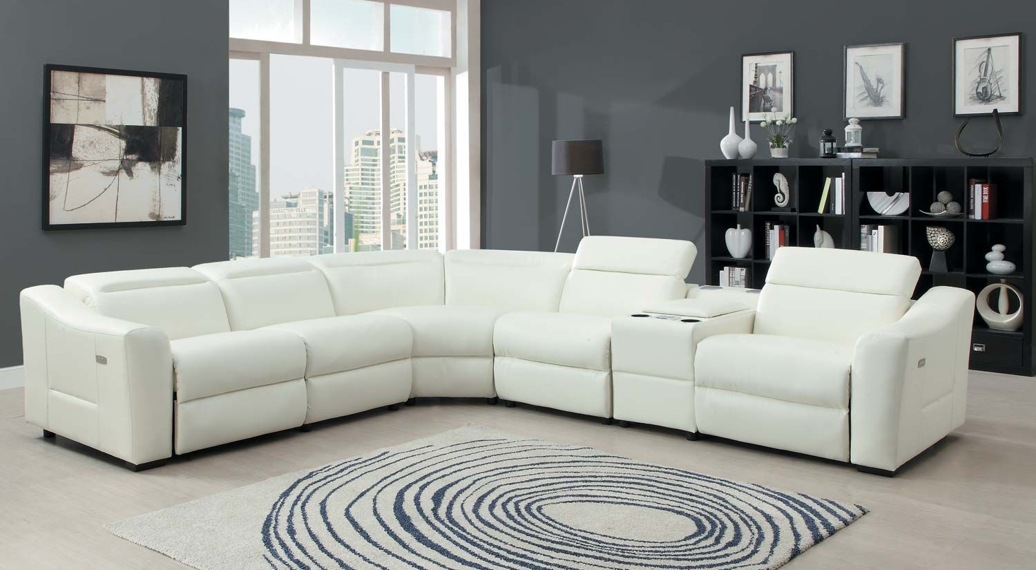 Modern Bonded Leather Sectional Sofa With Recliners Lav Selv Sofabord Trae Homelegance Instrumental Set White Match The Ultra Collection Will Allow You Your Family And