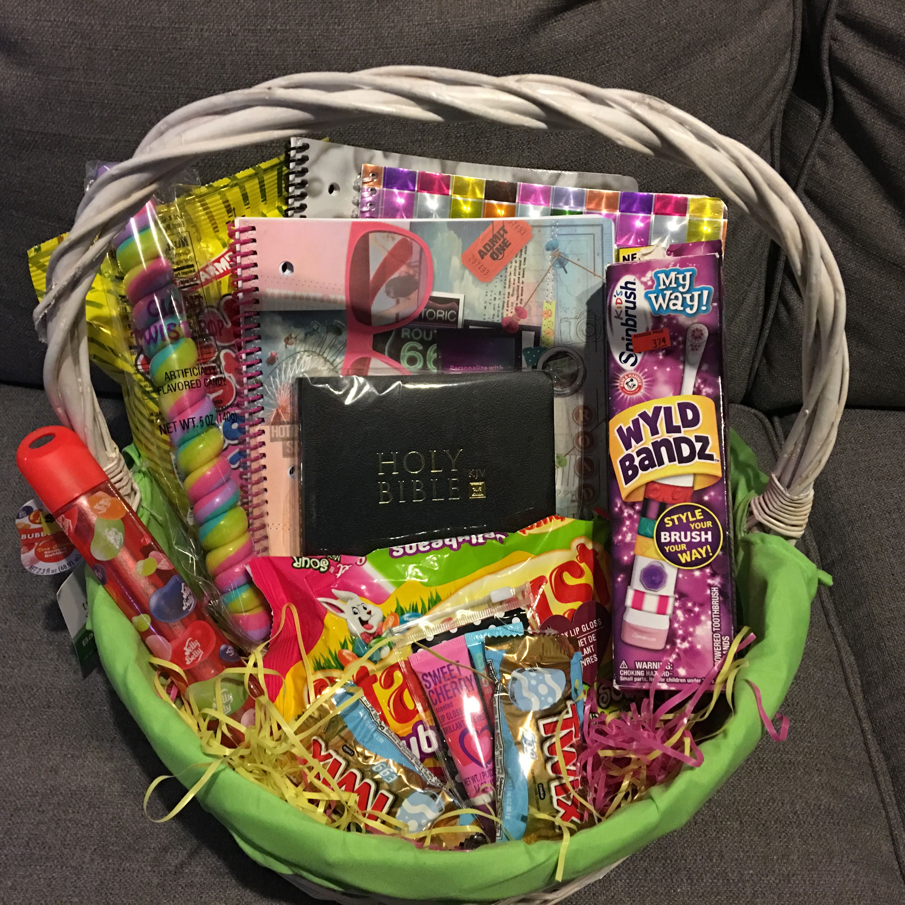 Ten Year Old Girl Easter Basket Ideas Includes Bible Cool Notebooks Electric Toothbrush Lip Gloss Scente Girls Easter Basket Easter Baskets Cool Notebooks