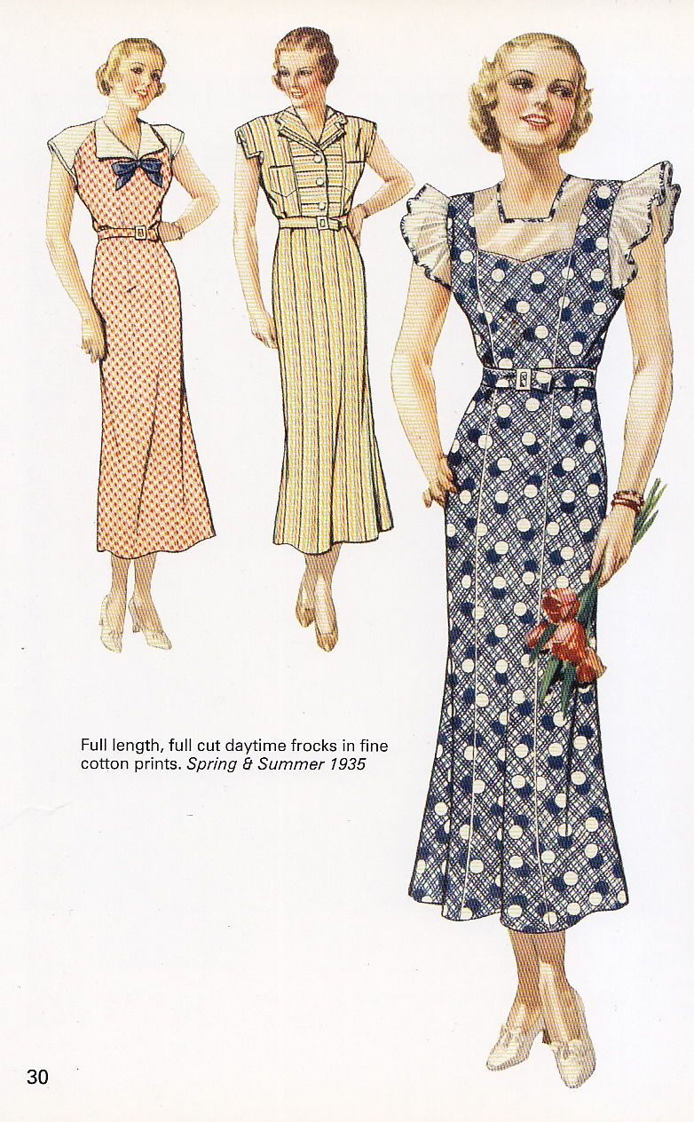 Mid 1930s House Dresses Blue White Cotton Sheer Art Deco Print Ad Graphic Dots Yellow Red Stripes Be Vintage Fashion 1930s 1930s Fashion Vintage Summer Outfits [ 1264 x 782 Pixel ]