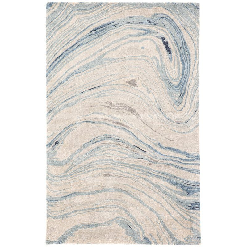 Fairmont Abstract Hand Tufted Blue Beige Area Rug Area Rugs