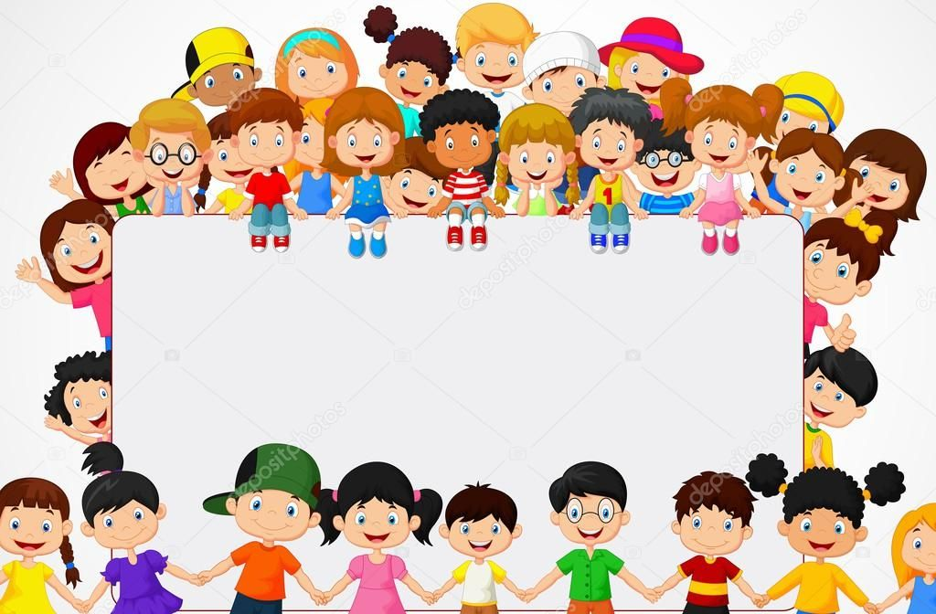 Vector illustration of Crowd children cartoon with blank