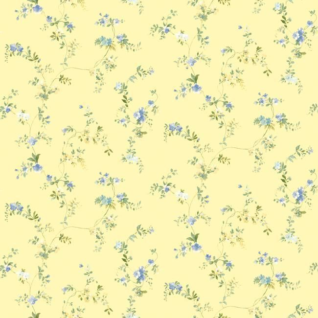Wallpaper Cottage Style Small Floral Vine On Yellow Background