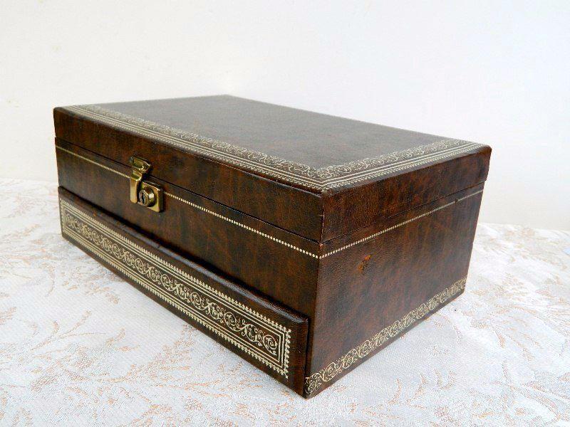 Vintage Leather Jewelry Box Dark Brown