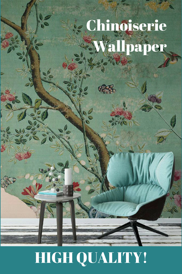 Emerald Green Chinoiserie Wallpaper, great for an accent
