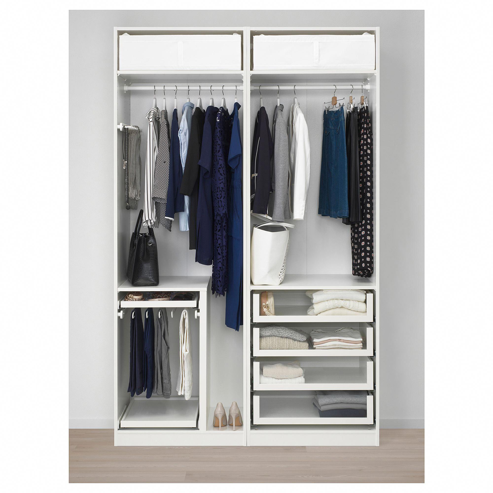IKEA PAX Wardrobe white Hokksund, high gloss dark blue