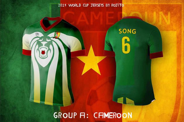 official photos b3830 b944a CAMEROON - lovely swirls on the Indomitable Lions kit ...