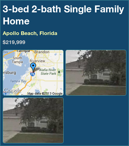 3-bed 2-bath Single Family Home in Apollo Beach, Florida ►$219,999 #PropertyForSale #RealEstate #Florida http://florida-magic.com/properties/2171-single-family-home-for-sale-in-apollo-beach-florida-with-3-bedroom-2-bathroom